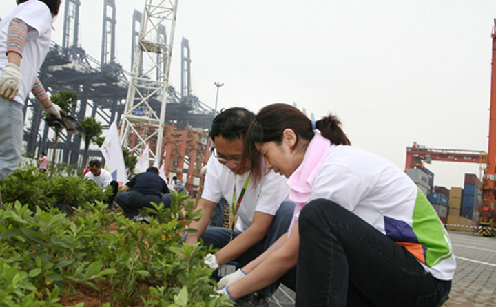 On 12 April 2008, YICT staff helped create a 3,000-square-metre greenbelt area at the terminal.
