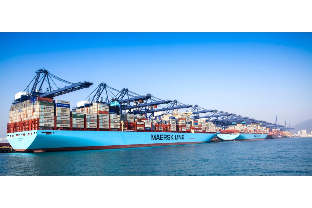 Two of the world's largest container vessels Marie Maersk and Madison Maersk visit YICT simultaneously
